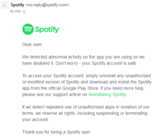 Spotify-Premium-modified-version-warning-email