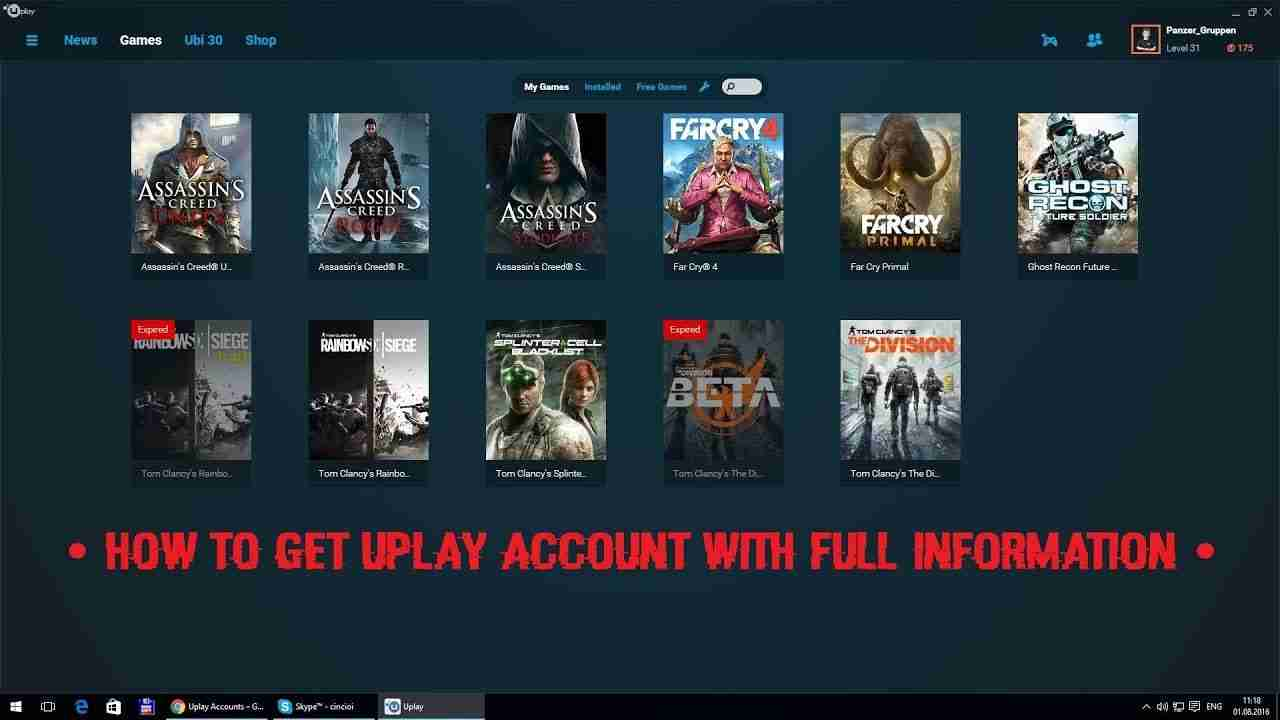 100+ uPlay Premium Accounts For Free 2019 [Working]