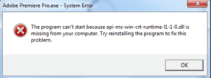 api-ms-win-crt-runtime-l1-1-0.dll Missing Error Preview